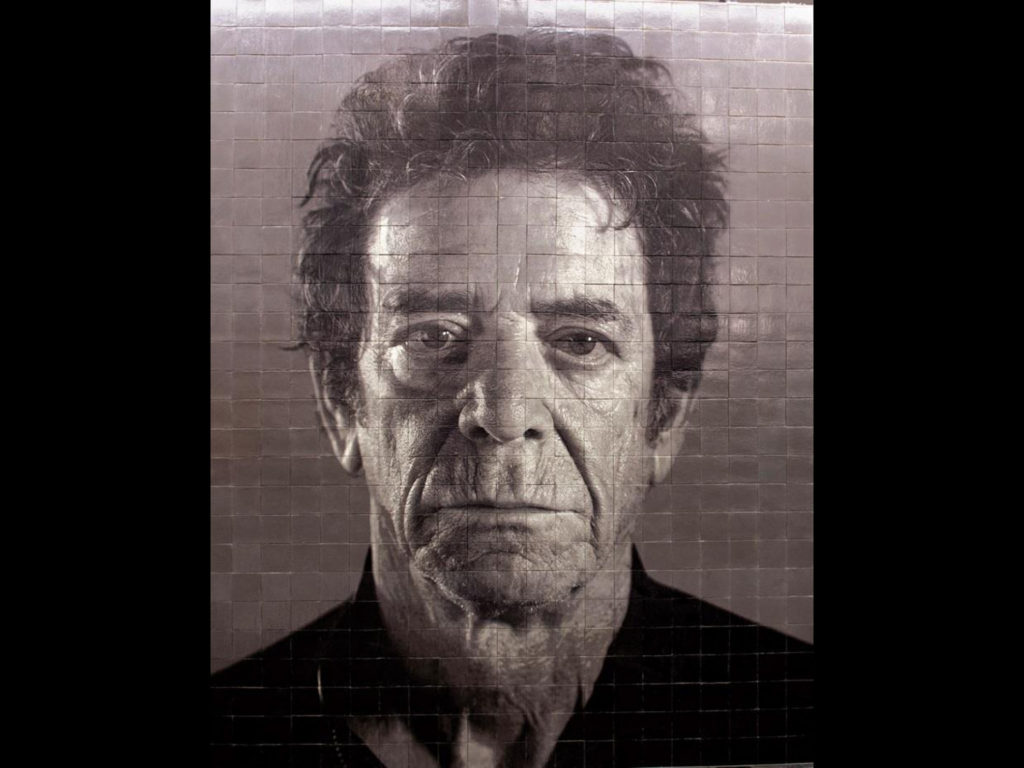 """Chuck Close, Lou Reed from his """"Subway Portraits"""" at the 86th stop on the new 2nd Avenue subway line. Courtesy of Governor Cuomo's office."""