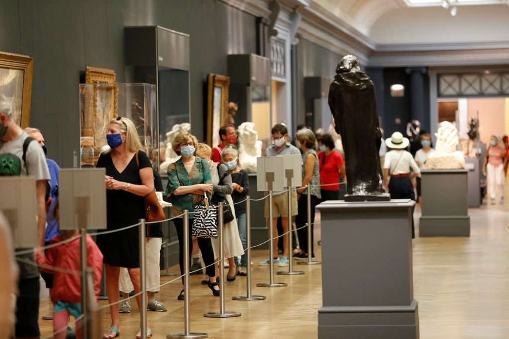 NEW YORK, NY - AUGUST 27: People wearing face masks visit The Metropolitan Museum of Art as it reopens to members after the pandemic closure, on August 27, 2020 in New York City, NY. (Photo by Liao Pan/China News Service via Getty Images)