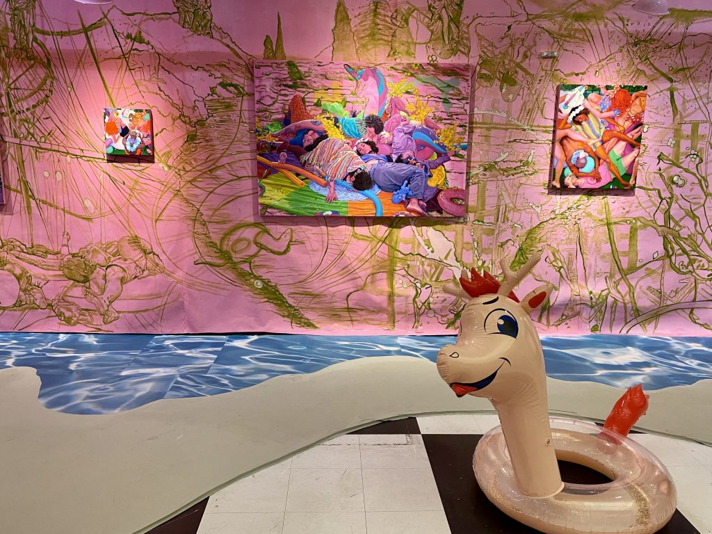"""""""Buket Savci: Wrong Side of the River (Pink Room)"""" curated by Maria de Los Angeles at Spring/Break Art Show. Photo by Sarah Cascone."""