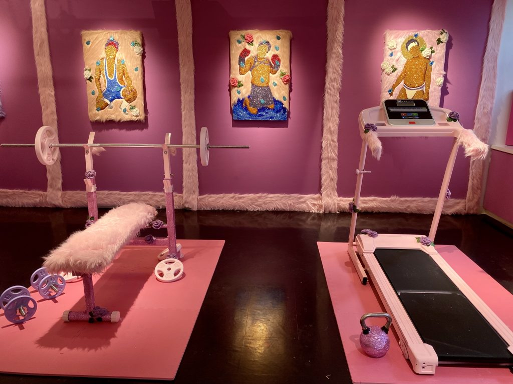 """""""Moises Salazar Tlatenchi: Let's Get Physical"""" curated by Filo Sofi Arts, New York at Spring/Break Art Show. Photo by Sarah Cascone."""