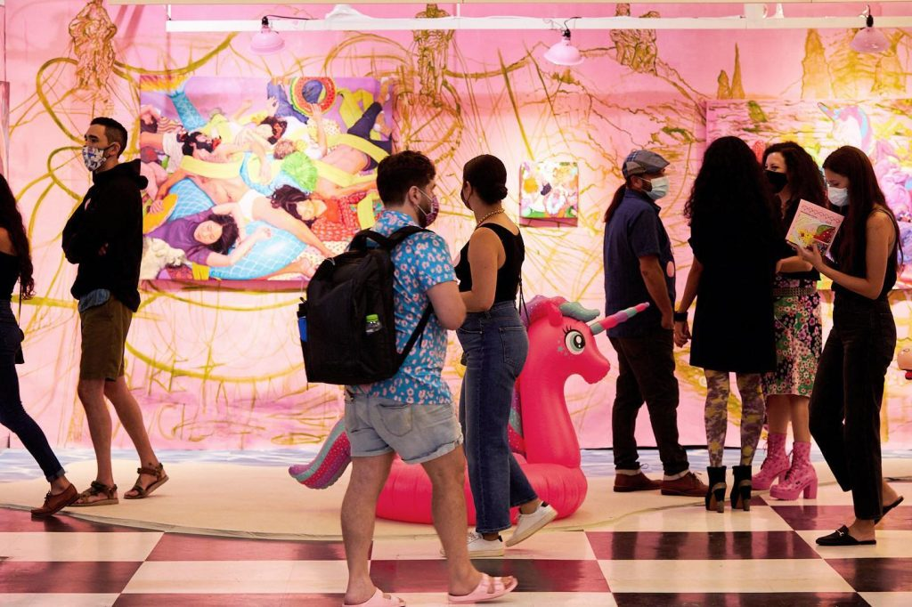 """""""Buket Savci: Wrong Side of the River (Pink Room)"""" curated by Maria de Los Angeles at Spring/Break Art Show. Photo by Sammy Sachs, courtesy of Spring/Break Art Show."""
