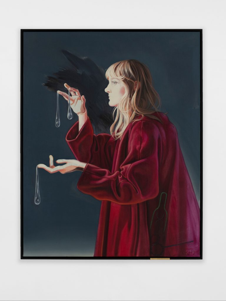 Kati Heck, Vondirfüruns-theory (2021). oil on canvas, frame with messing plate site size: 140 x 110 cm / 55 ⅛ x 43 ¼ in Credit: © Kati Heck, courtesy Sadie Coles HQ, London.