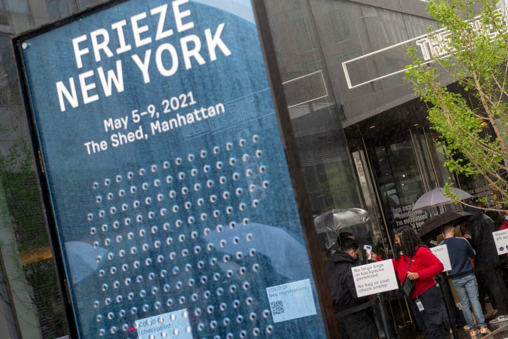A scaled down version of Frieze New York was held at The Shed in May. (Photo by Alexi Rosenfeld/Getty Images)