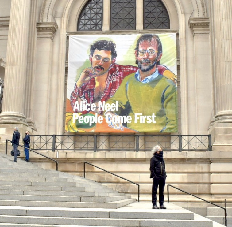 """Banner for """"Alice Neel: People Come First"""" outside the Metropolitan Museum. Photo by Ben Davis."""
