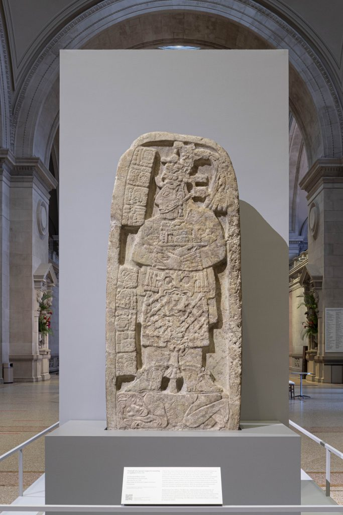 A newly installed Maya stone monument at the Metropolitan Museum of Art. © Metropolitan Museum of Art 2019, photography Wilson Santiago.