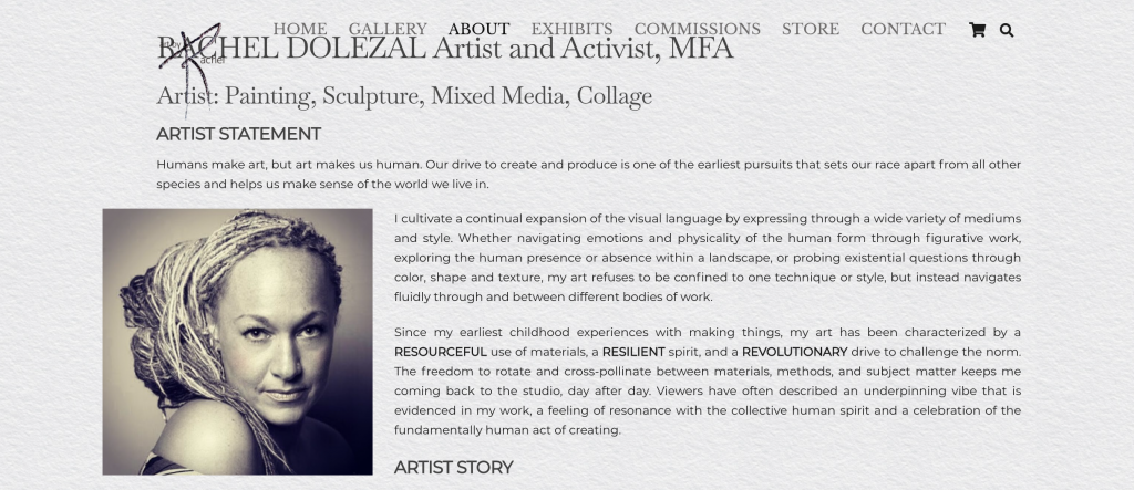A screen shot of Rachel Dolezal's art website.