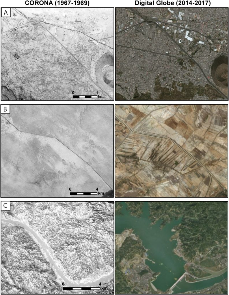 Examples of recent land use changes detectable on CORONA imagery: A) Western Mexico City, Mexico, where massive urban sprawl has destroyed archaeological remains; B) Indus River Valley, Pakistan, where intensified irrigation agriculture has obscured archaeological sites; C) Three Gorges Dam, China, where construction of the world's largest dam project has submerged countless archaeological sites. CORONA imagery courtesy United States Geological Survey; Modern satellite imagery ©ESRI and DigitalGlobe.