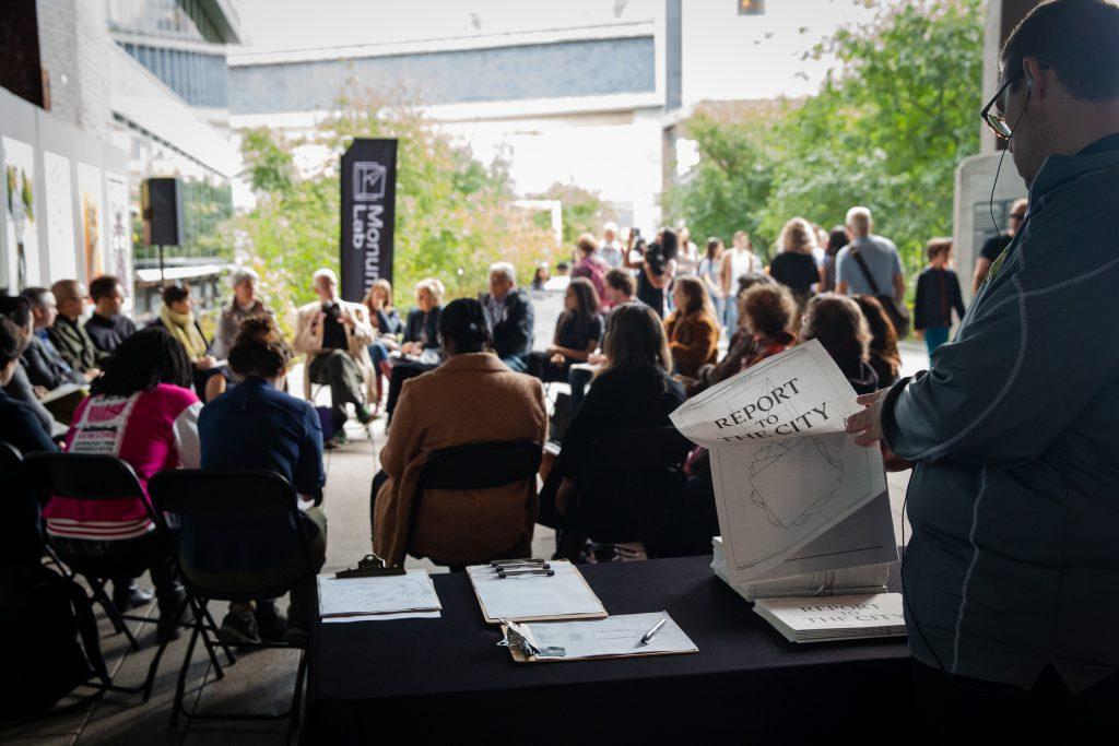Participants in the Monument Lab Public Thinktank – New York City, High Line, 2019. Photo: Liz Ligon.