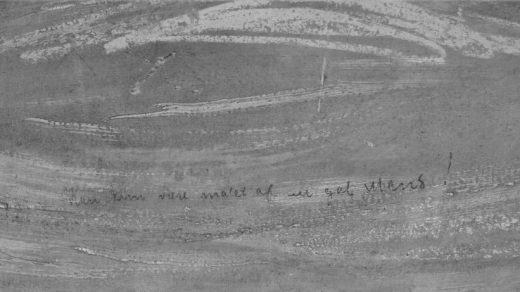 A close up of the infrared scan of the inscription on Edvard Munch, The Scream. Photo by Borre Hostland, courtesy the National Museum of Norway.