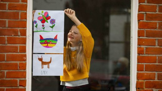 Artwork depicting animals, created by Louie is displayed in the window of a house in Acton, London to launch The Great Big Art Exhibition, the nationÕs largest ever exhibition, an initiative by Firstsite. PA Photo. Issue date: Thursday January 28, 2021. The exhibition asks members of the public to draw, paint, sculpt, build or create their own artwork and display it in their front windows. Artists including Anthony Gormley, Sonia Boyce, Etel Adnan and Anish Kapoor will set a different theme each fortnight for participants to work from with the first theme animals, set by Gormley. Photo credit should read: David Parry/PA Wire