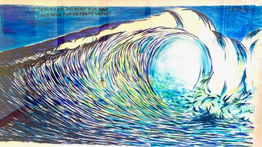 The Pettibon work allegedly taken from the artist's studio, with text at top left. Photo courtesy a tipster.
