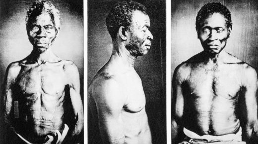 """5/31/1977-Cambridge, MA- Photographs of American slaves, possibly the oldest known in the country, have been discovered in the basement of a Harvard University museum. Among the previously unpublished daguerreotypes discovered are these (L-R): a Congo slave named Renty, who lived on B.F. Taylor's plantation, """"Edgehill""""; Jack, a slave from the Guinea Coast (ritual scars decorate his cheek); and an unidentified man."""