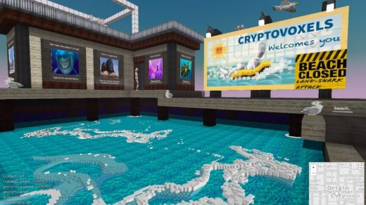Screenshot of the touchdown point in CryptoVoxels.