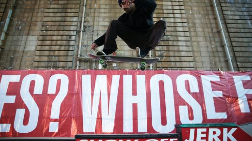 Barbara Kruger, <i>Untitled (Skate)</i>, at Coleman Skatepark, NYC. A Performa Commission for Performa 17. Photo © Paula Court. Courtesy of Performa.