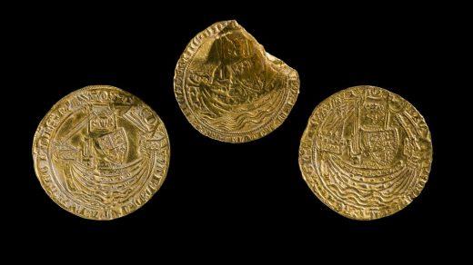 Medieval coin hoard: three gold coins of Edward III and Richard II.© Amgueddfa Cymru–National Museum Wales.