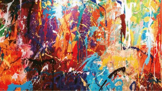 """JonOne's vandalized painting is now helping advertise the """"Street Noise"""" exhibition at P/O/S/T gallery at Seoul'sLotte World Mall. Courtesy of P/O/S/T."""
