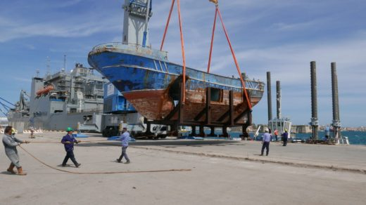 The shipwreck being moved from a port near Augusta, Sicily, to Venice for the biennale. The project is being presented by artist Christoph Büchel. © Barca Nostra.