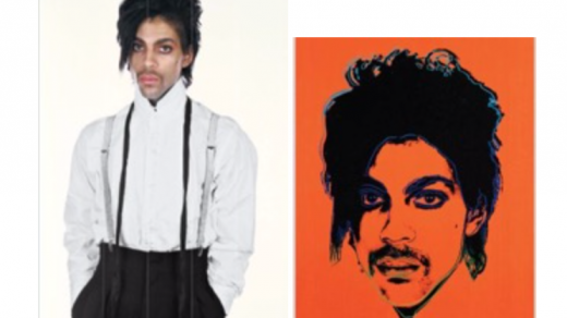 Right: Lynn Goldsmith's original photograph of Prince; left: Andy Warhol's <i>Orange Prince</i>