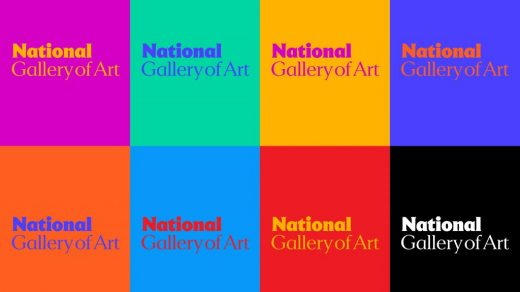 The logo for the National Gallery of Art in the brand color palette. Courtesy of the National Gallery of Art and Pentagram.