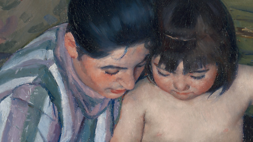 Detail of </i>The Child's Bath <i>. Collection of the Art Institute of Chicago.
