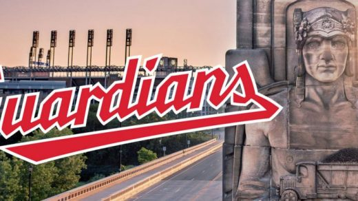 The logo for the renamed Cleveland Guardians, and one of the Guardians of Traffic statues that is the team's new namesake. Courtesy of Major League Baseball.