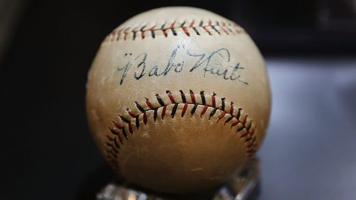 A baseball signed by Babe Ruth that was put up for auction in October 2016 at Christie's New York. (Photo by Spencer Platt/Getty Images)