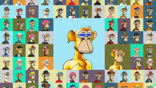 """A collage of the Bored Apes offered up in Sotheby's """"Ape In!"""" sale this week. Courtesy of Sotheby's."""